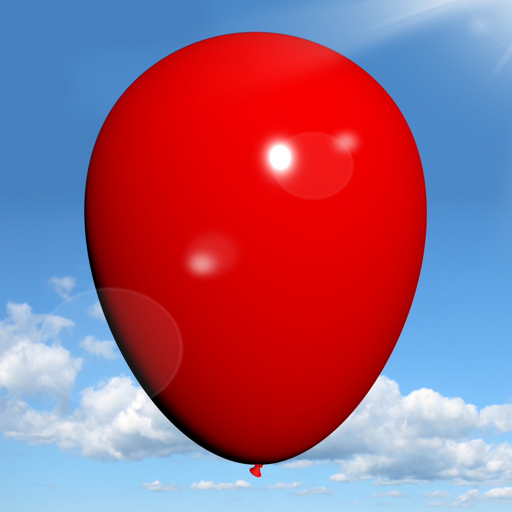 Red Balloon On Sky Background Has Copyspace For Party Invitation