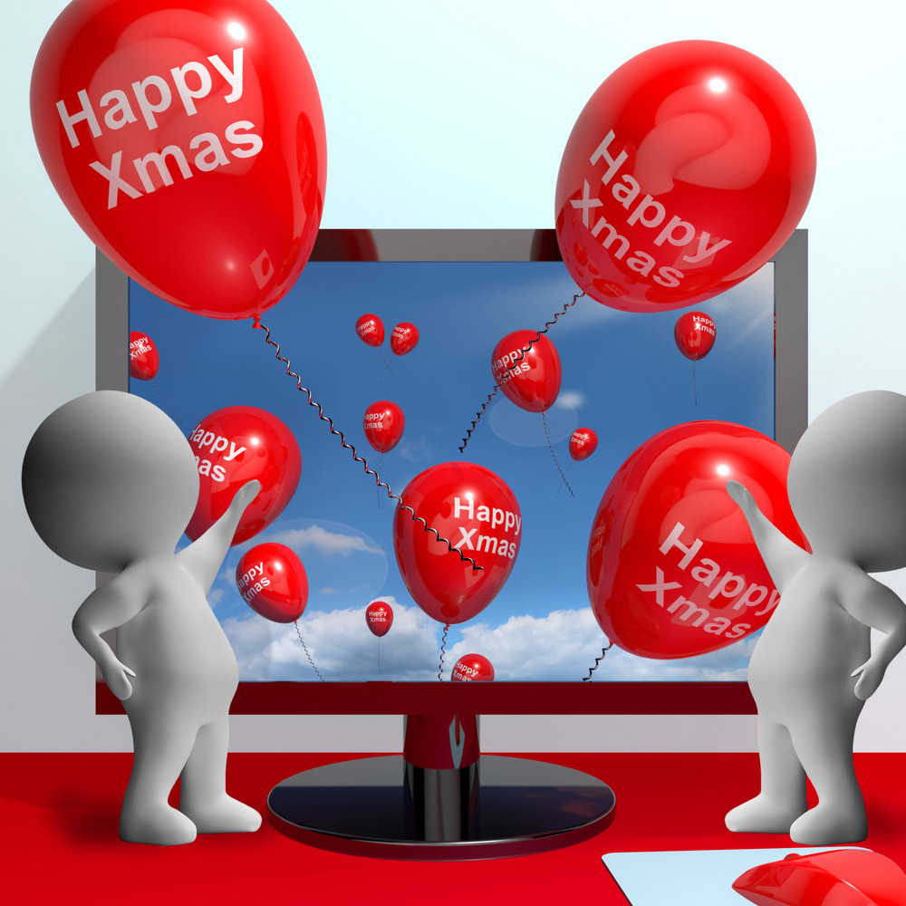 Red Balloons With Happy Xmas For Online Greetings