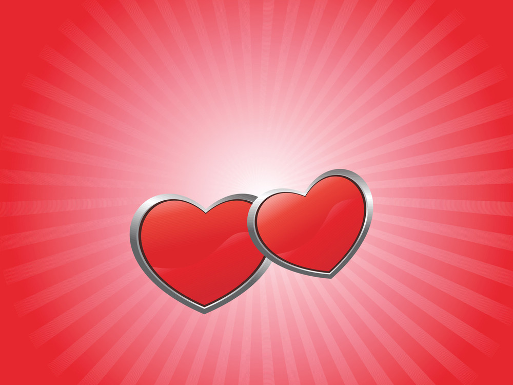 Red Banner With Couple Heart