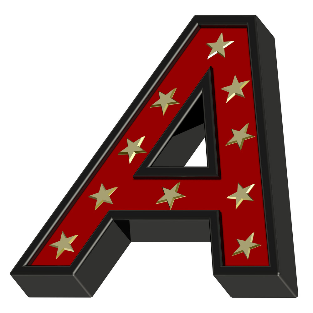 Red-black Letter With Stars Isolated On White.