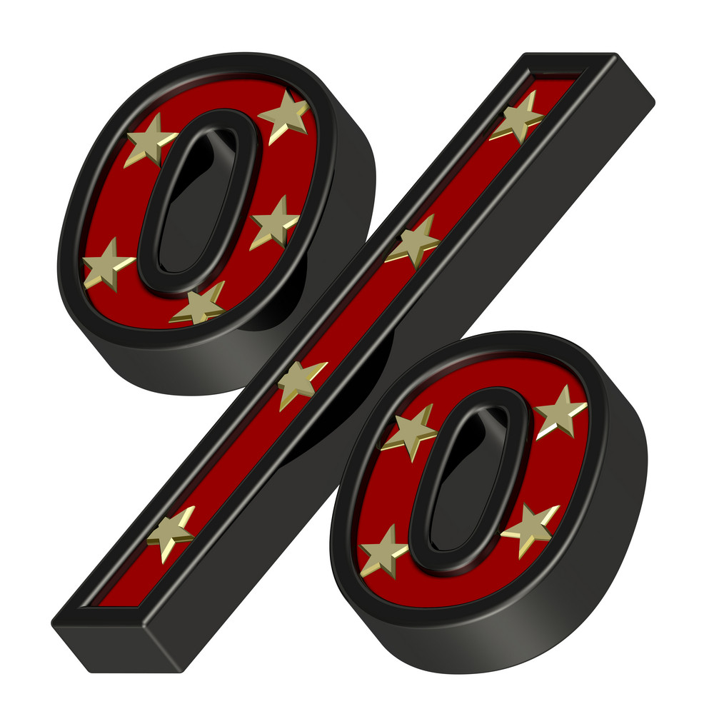 Red-black Percent Sign With Stars Isolated On White