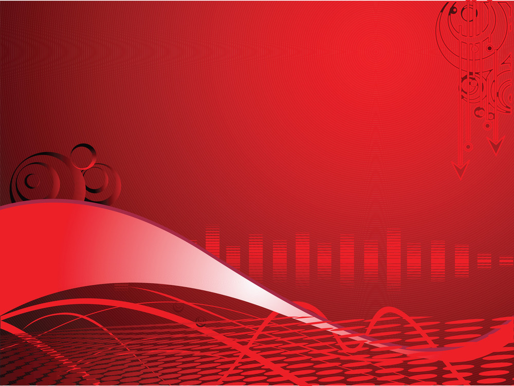 Red Business Background With Swirl Elements