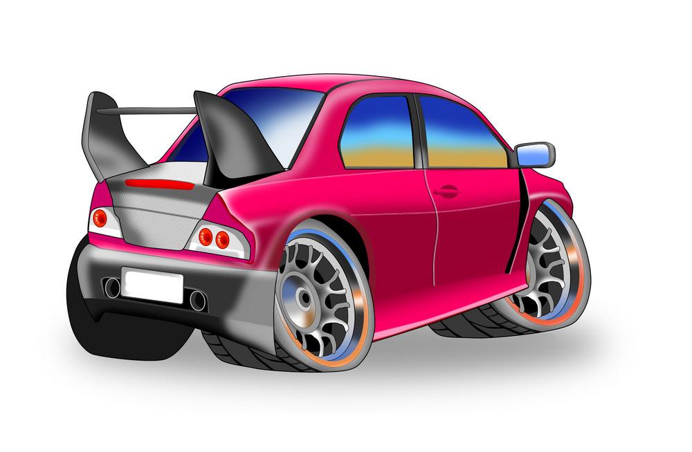 Red Car Mini Back View
