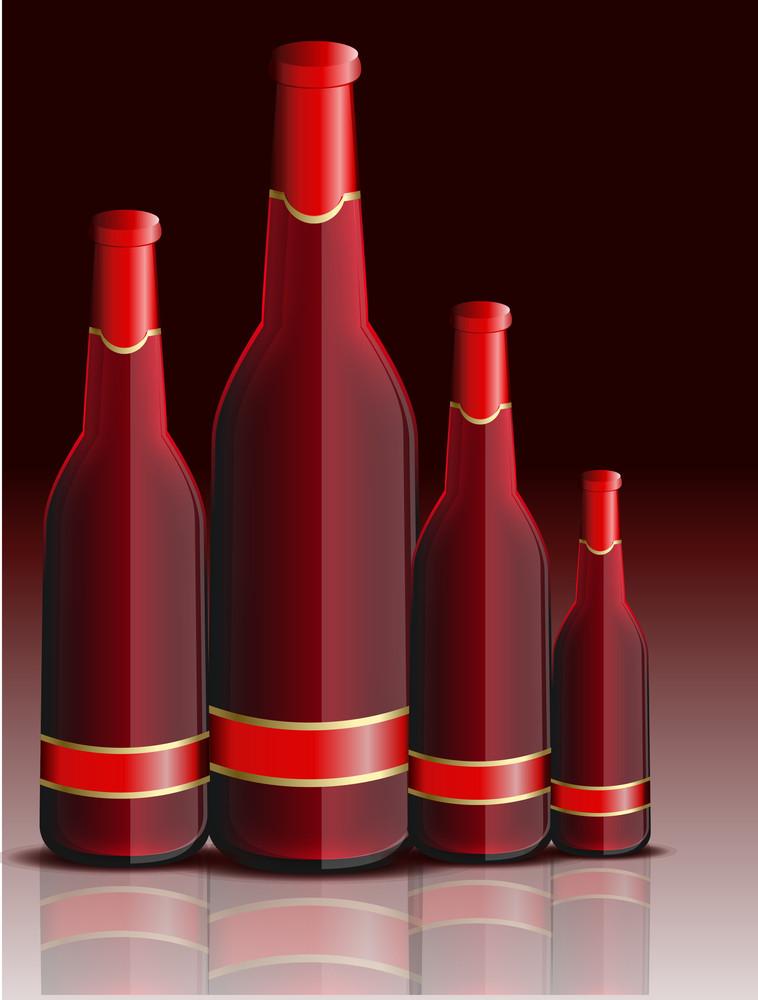 Red Champaign Bottles Vector Set
