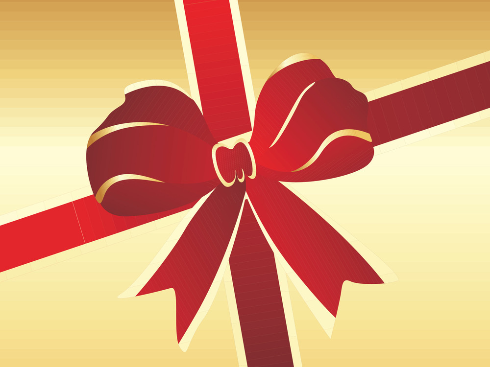 Red Christmas Bow On Golden Background Illustration