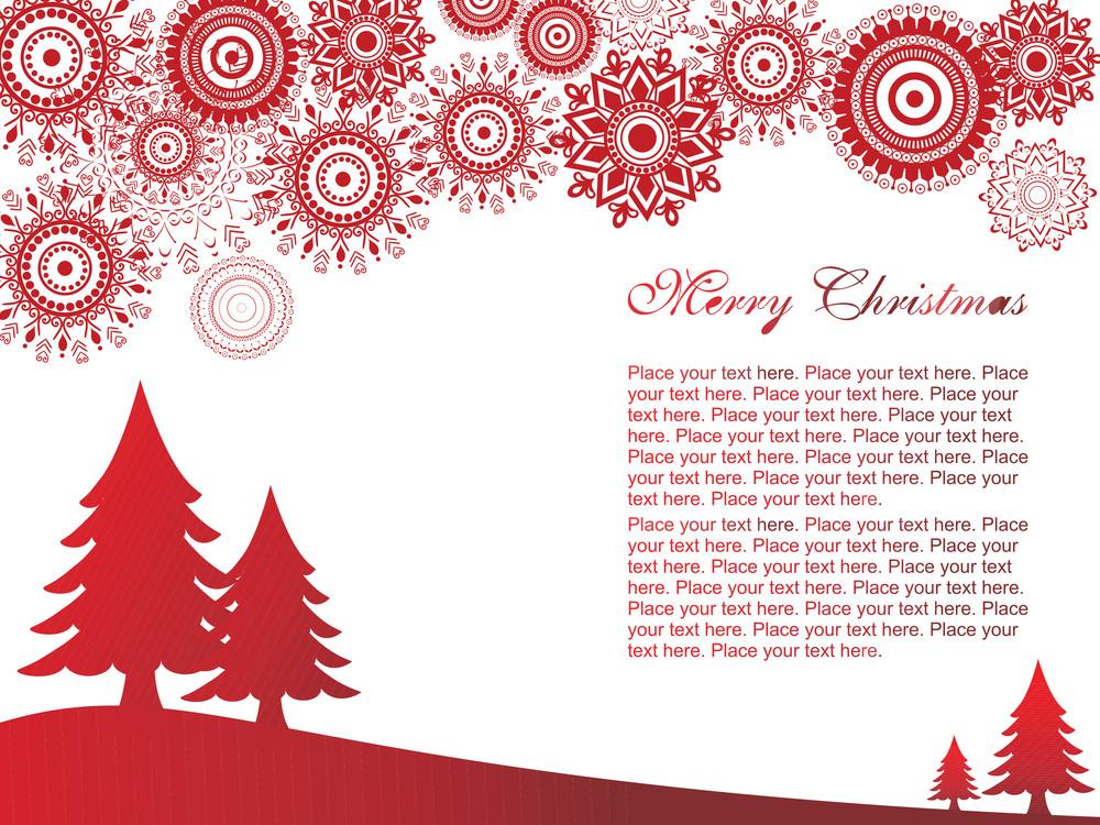 Red Christmas Tree And Snowflake