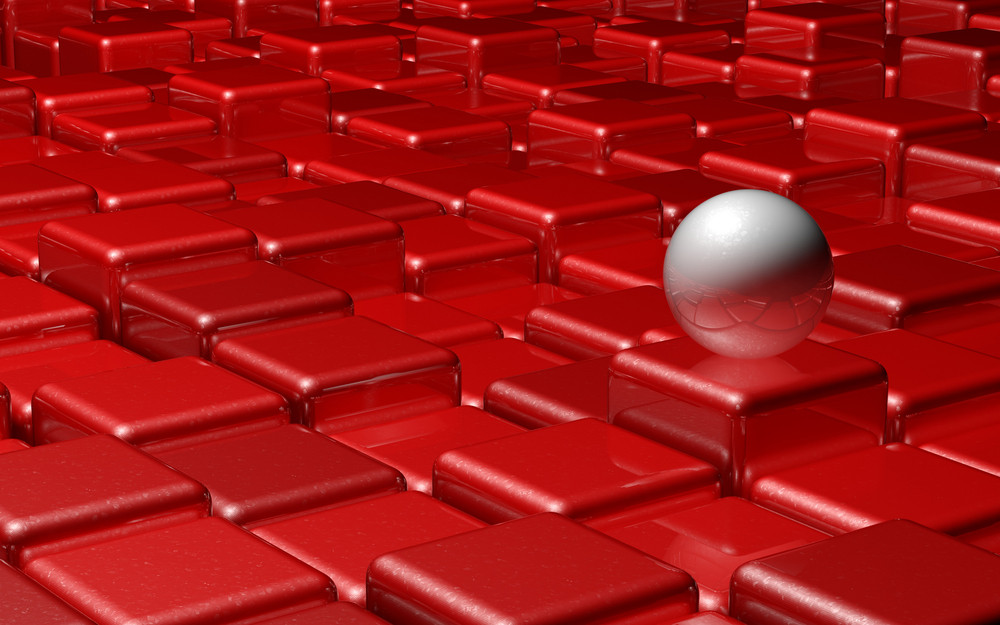 Red Cubes With White Sphere
