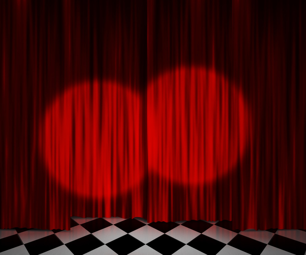 Red Curtain Spotlight Stage Background