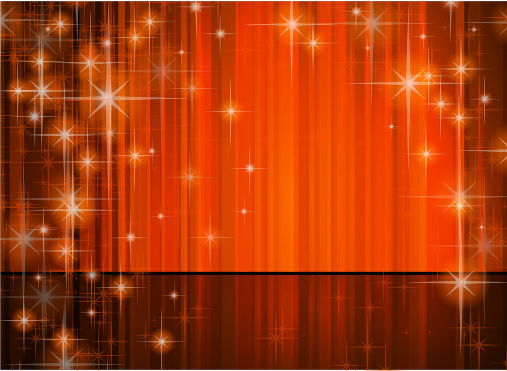 Red Curtain With Mysterious Sparkles. Vector Background.
