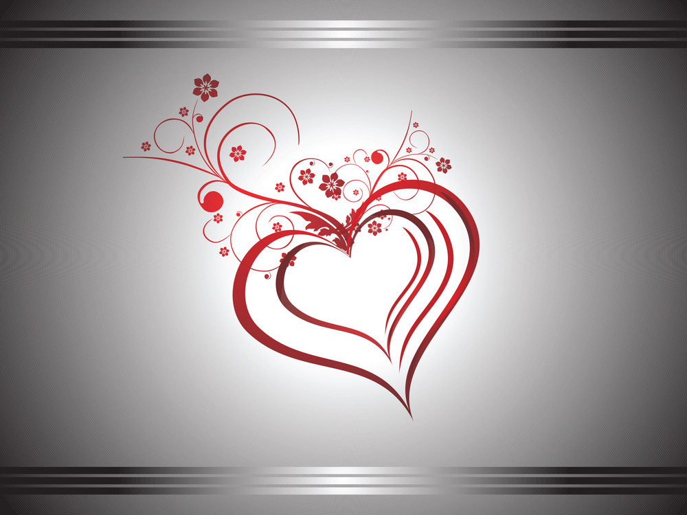 Red Curve In A Heart Shape With Floral Elements