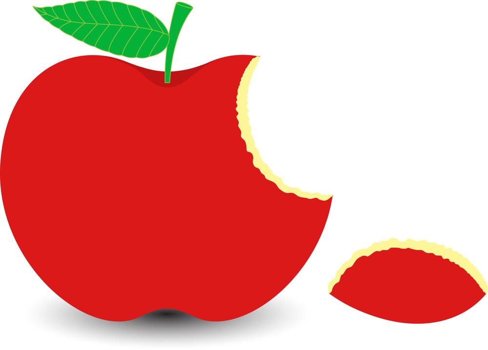 Red Eaten Apple Slice