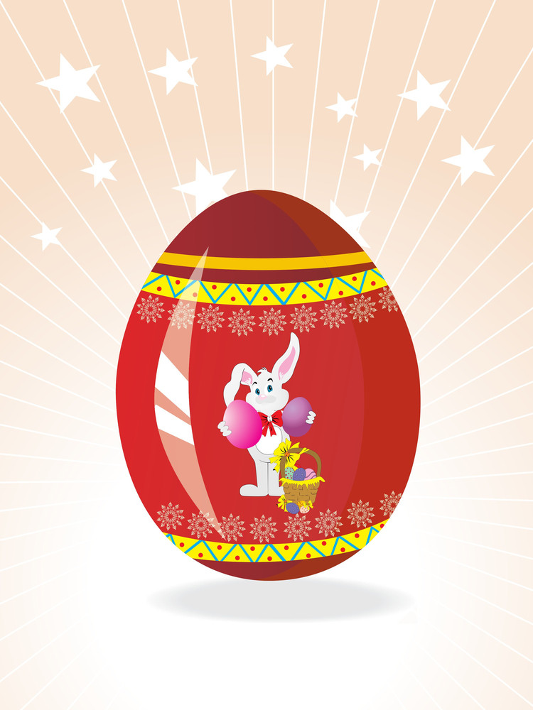 Red Egg Background With Bunny Holding Two Egg