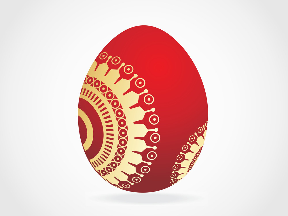 Red Egg With Golden Ornaments