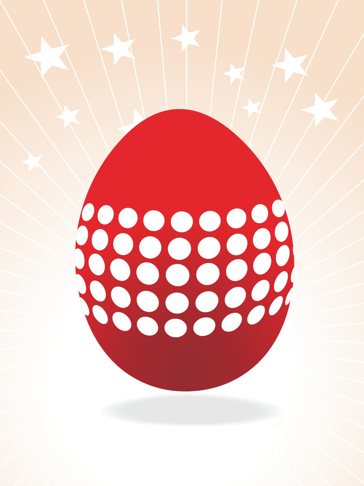 Red Egg With White Dots For Easter Day