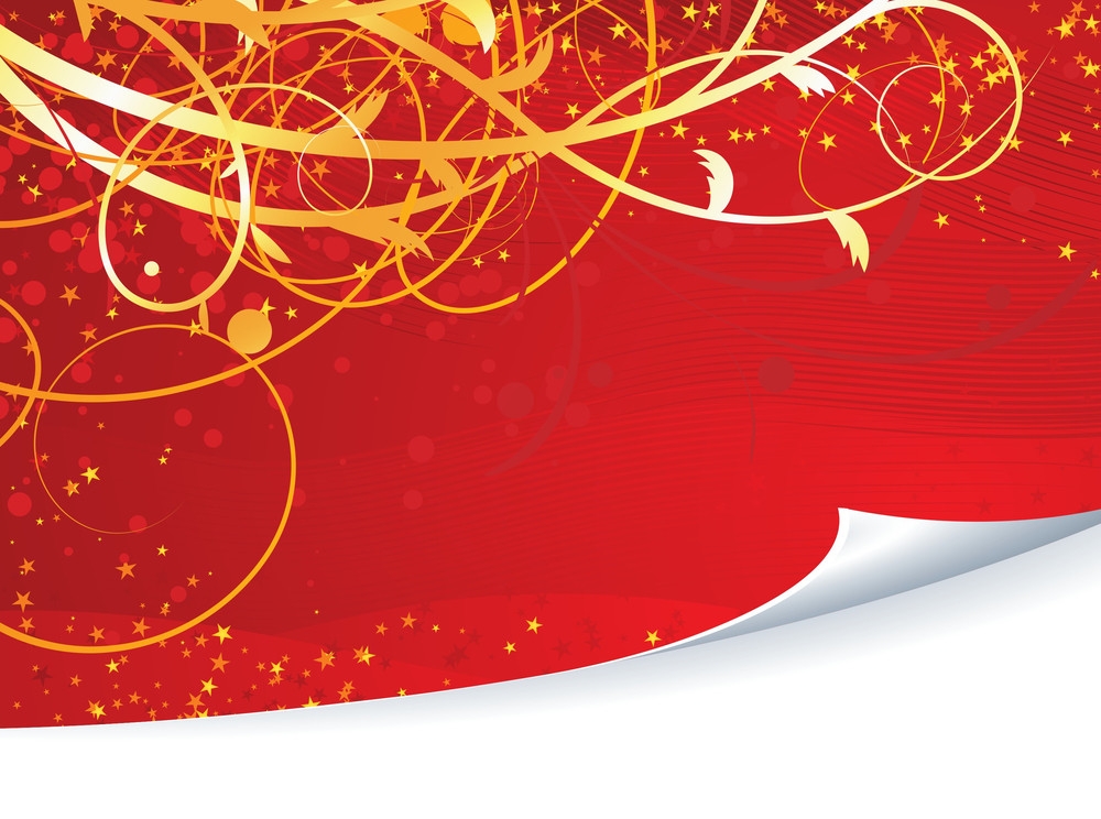 Red Floral Background. Vector.