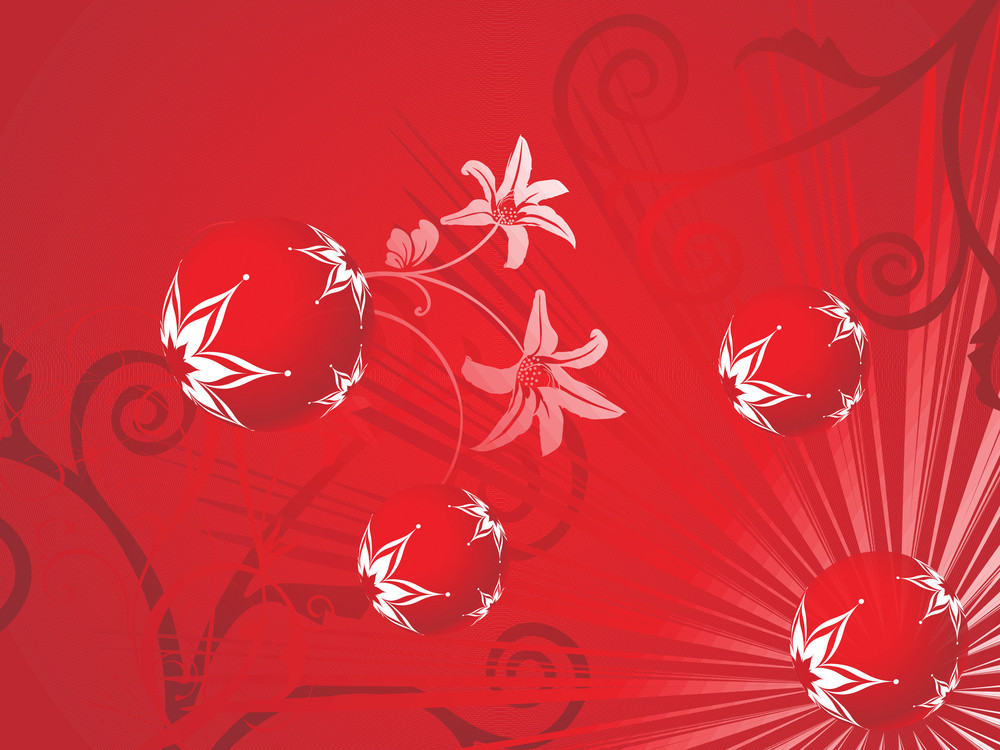Red Floral Background With Decorated  Balls