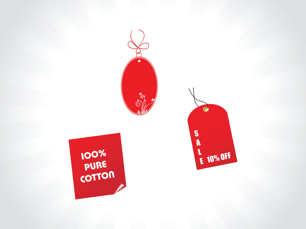 Red Floral Tags And Stickers