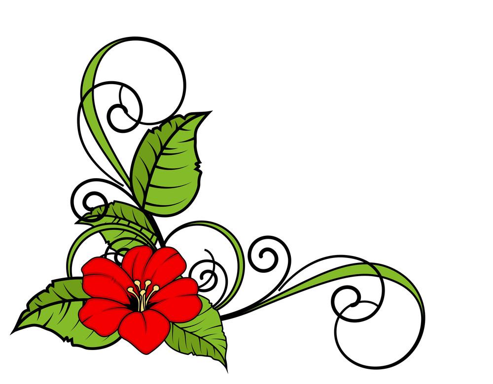 Red Flower Swirl Corner Frame