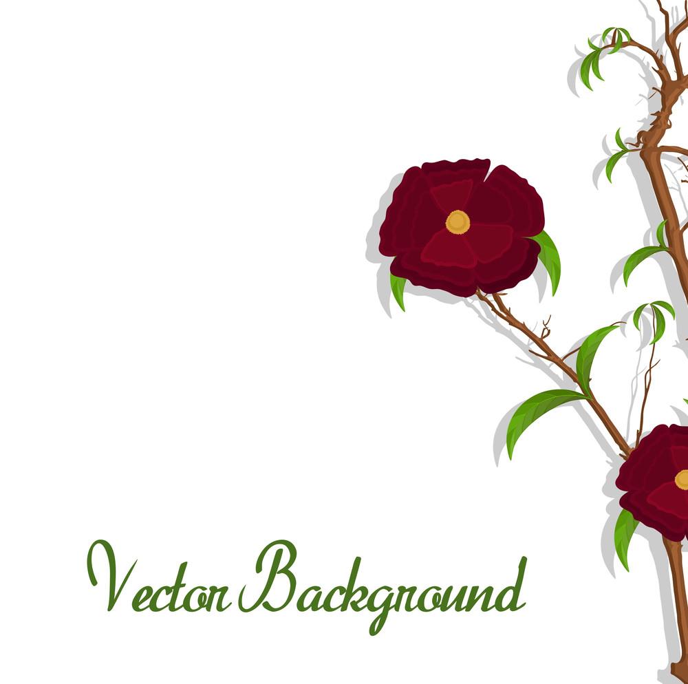 Red Flower Vector Branch