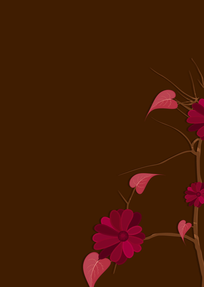 Red Flowers Branch Vector Design