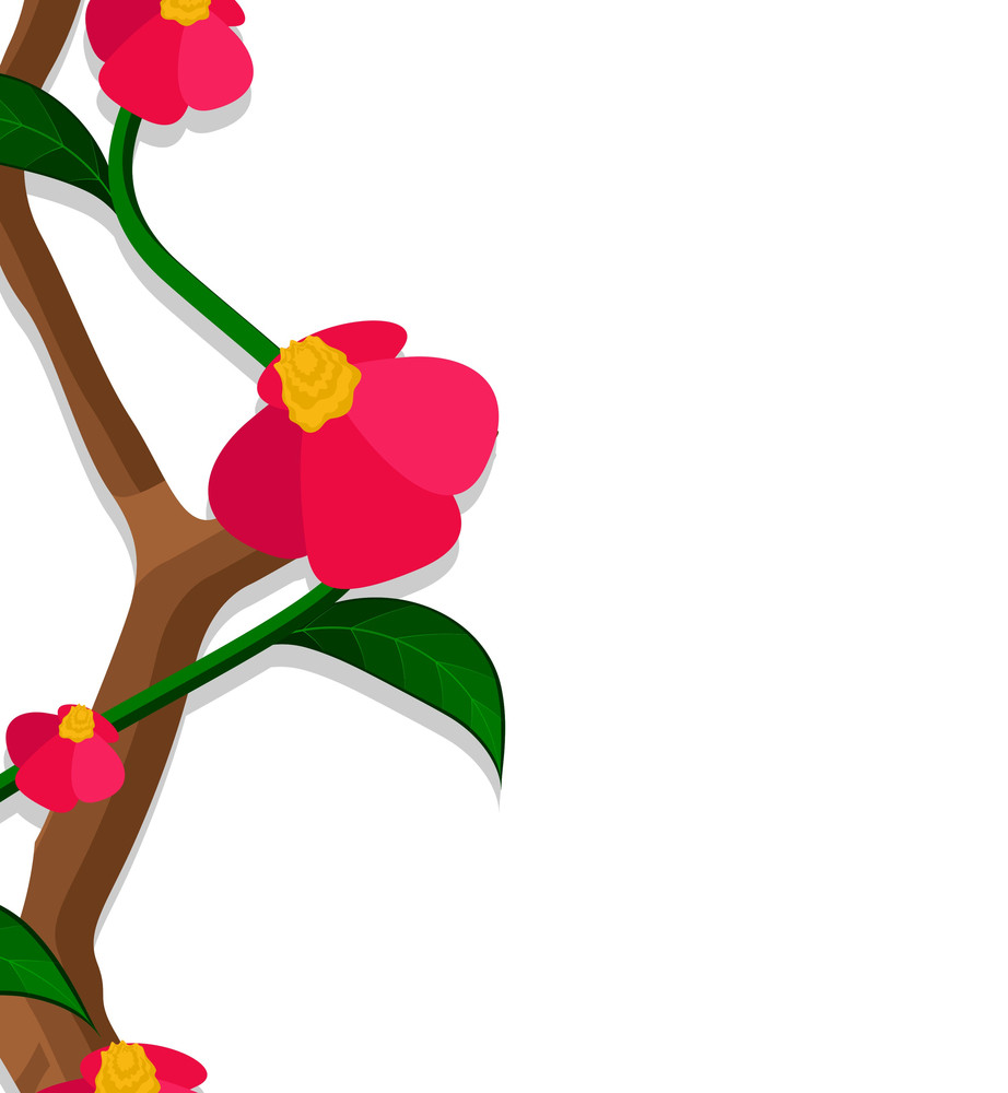 Red Flowers Greeting Banner