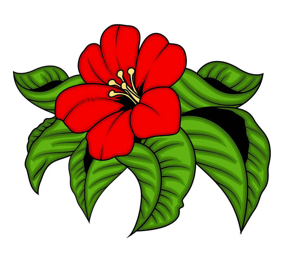 Red Flowers With Leaves Vector