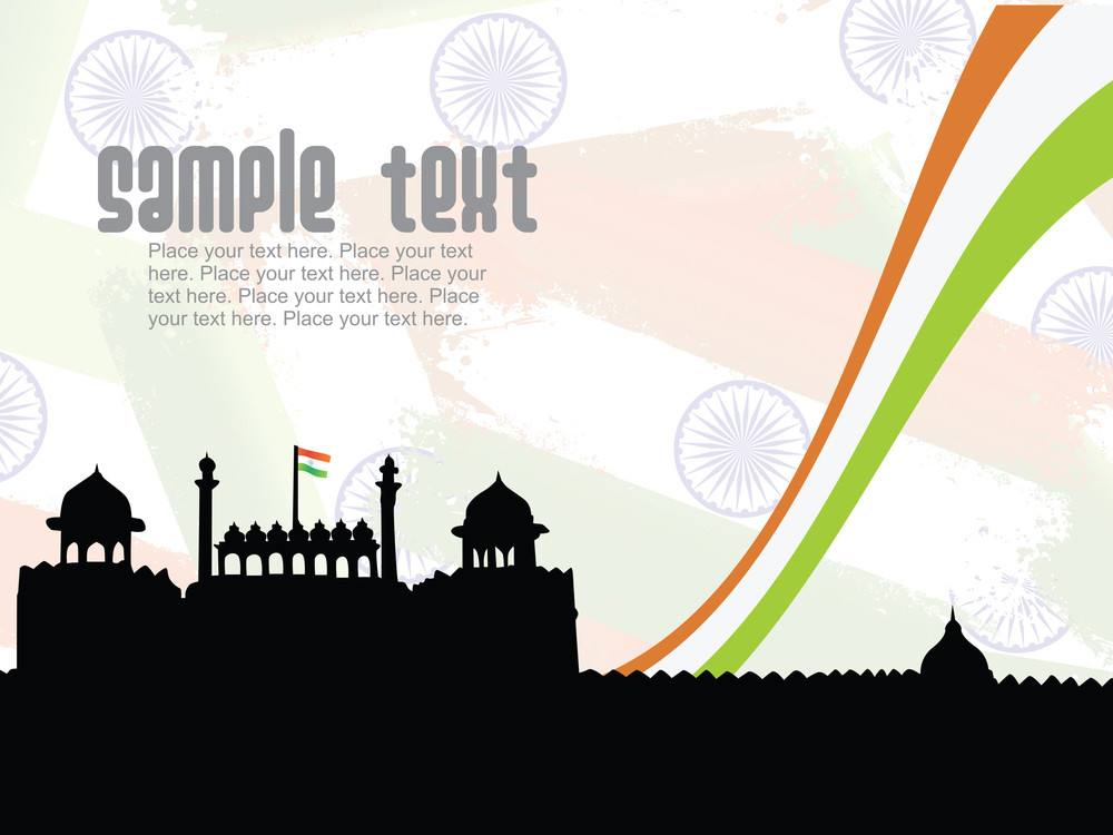 Red Fort Silhouette In Delhi On Independence Day Background