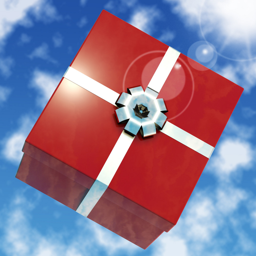 Red Giftbox With Sky Background For Girls Birthday