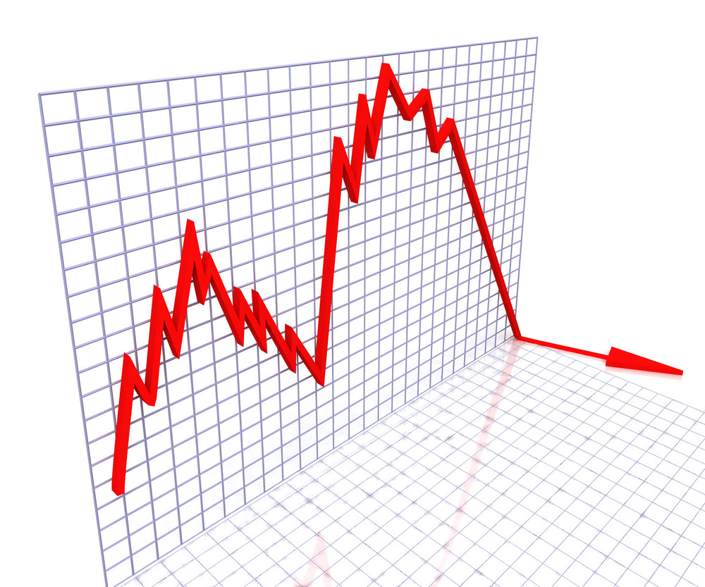 Red Graph Shows Sales Or Profit