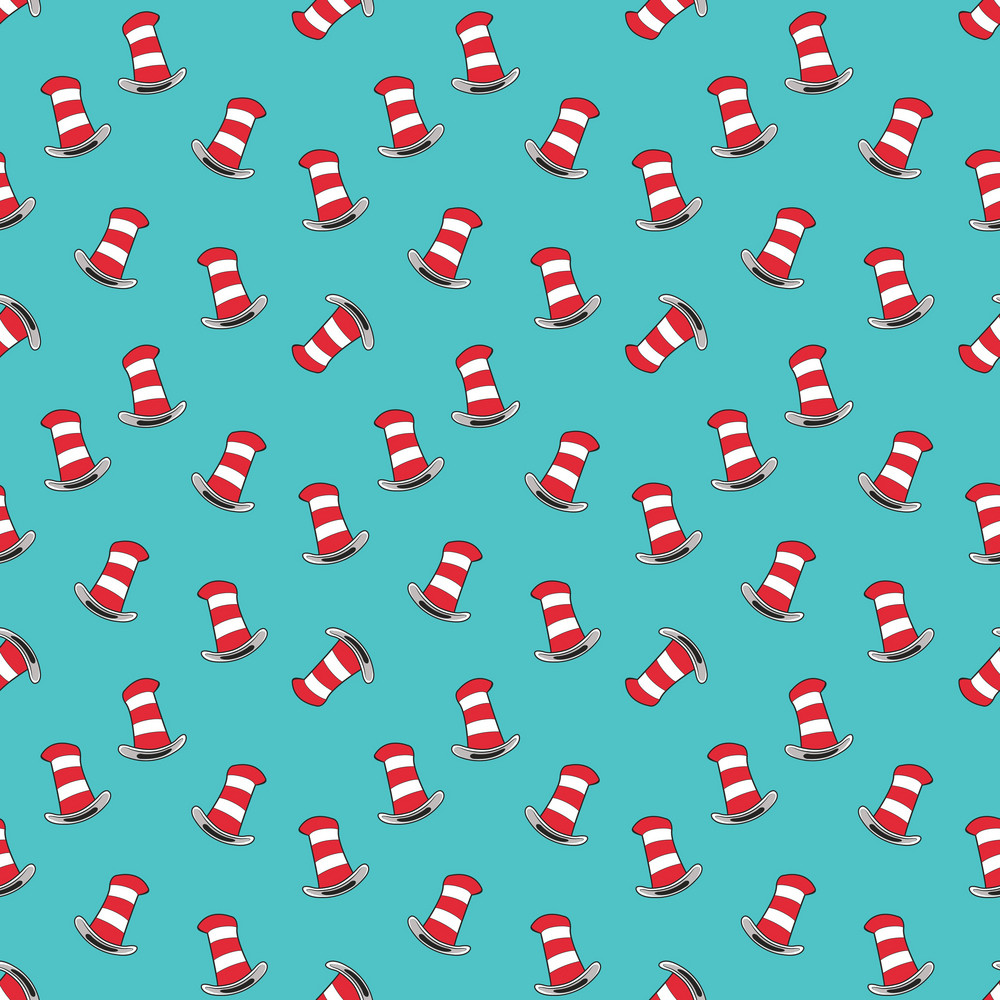 Red Hats Cat And Hat Pattern On A Blue Background Royalty Free