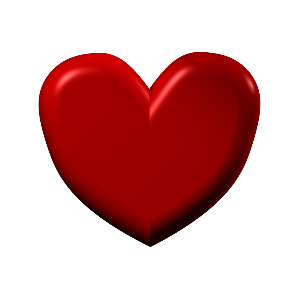 Red Heart Isolated On White.