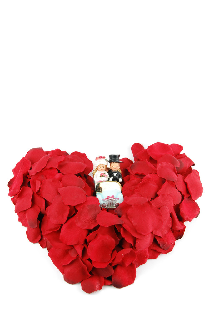 Red Heart Made Of Rose Petals For Valentine's Day