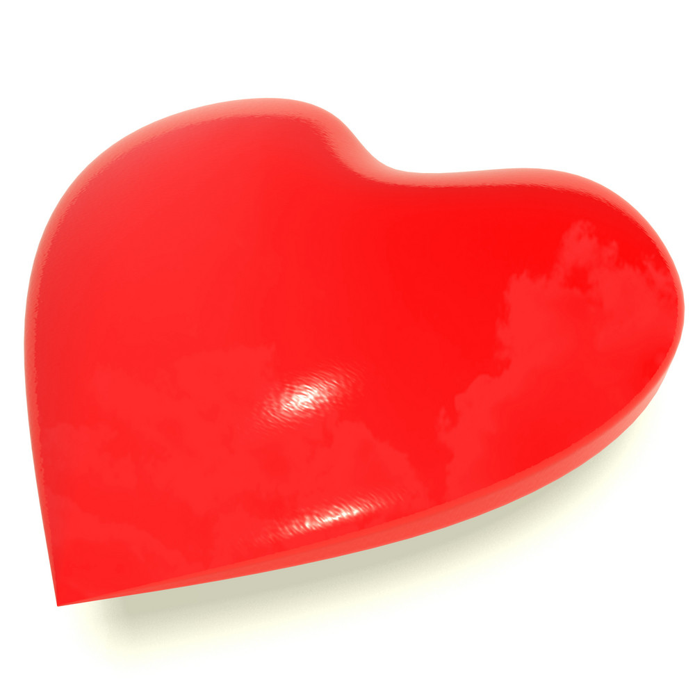 Red Heart On White Representing Love And Romance