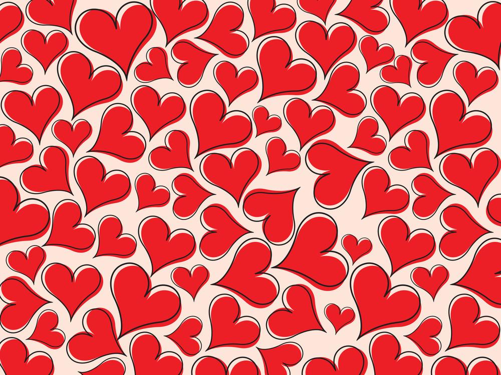 Red Heart Pattern Wallpaper