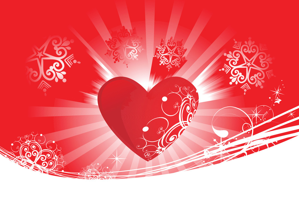 Red Heart Scroll On Brown Background