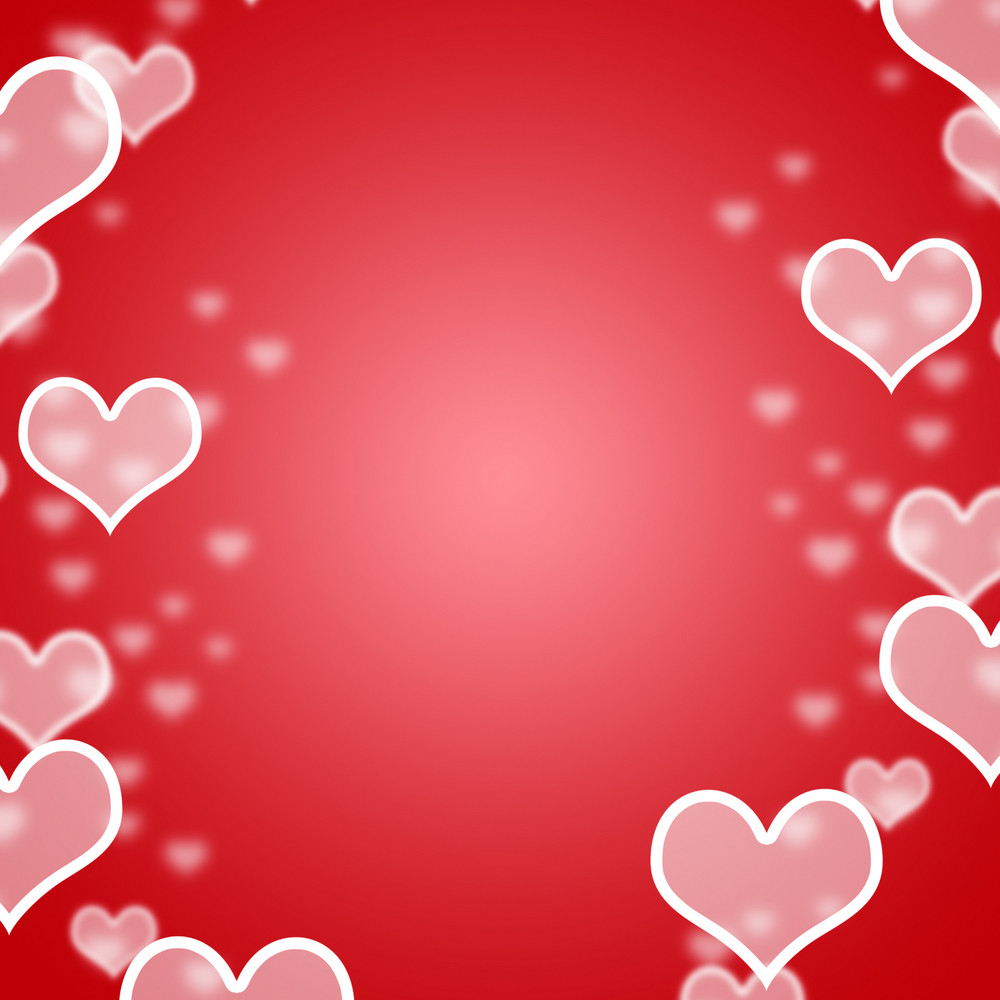Red Hearts Bokeh Background With Blank Copyspace Showing Love And Romance