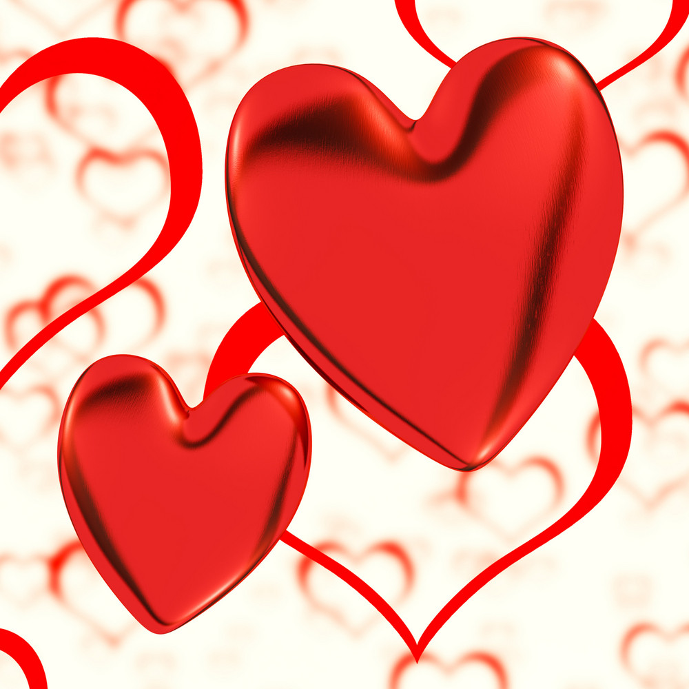 Red, Hearts On A Heart Background Showing Love Romance And Romantic Feeling