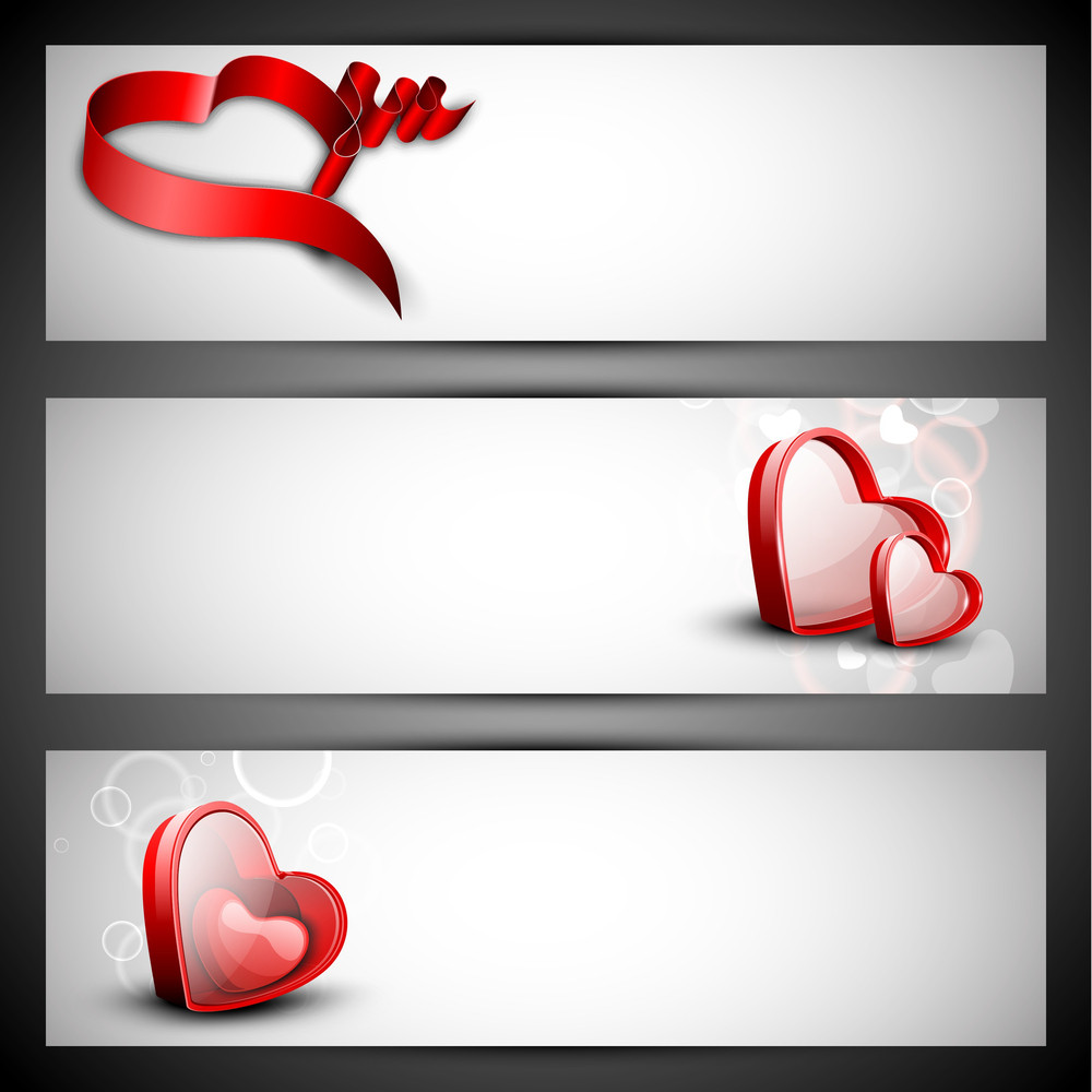 Red Hearts On Grey