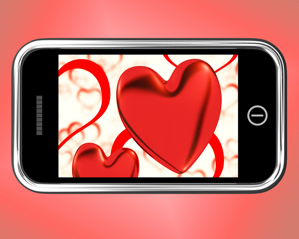 Red Hearts On Mobile Show Love And Romance