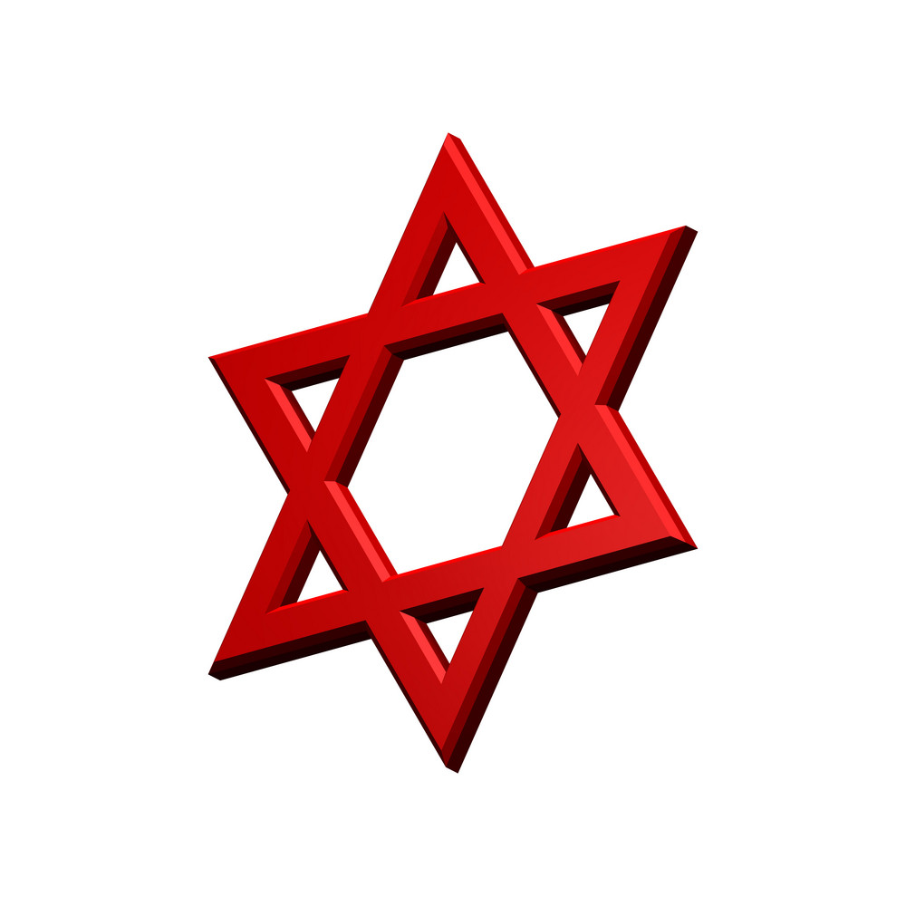Red Judaism Religious Symbol - Star Of David Isolated On White.