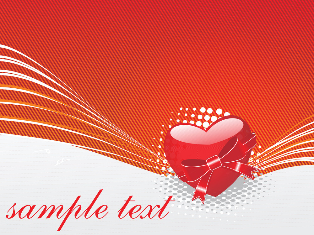 Red Knoted Vector Heart With Ribbon And Bow