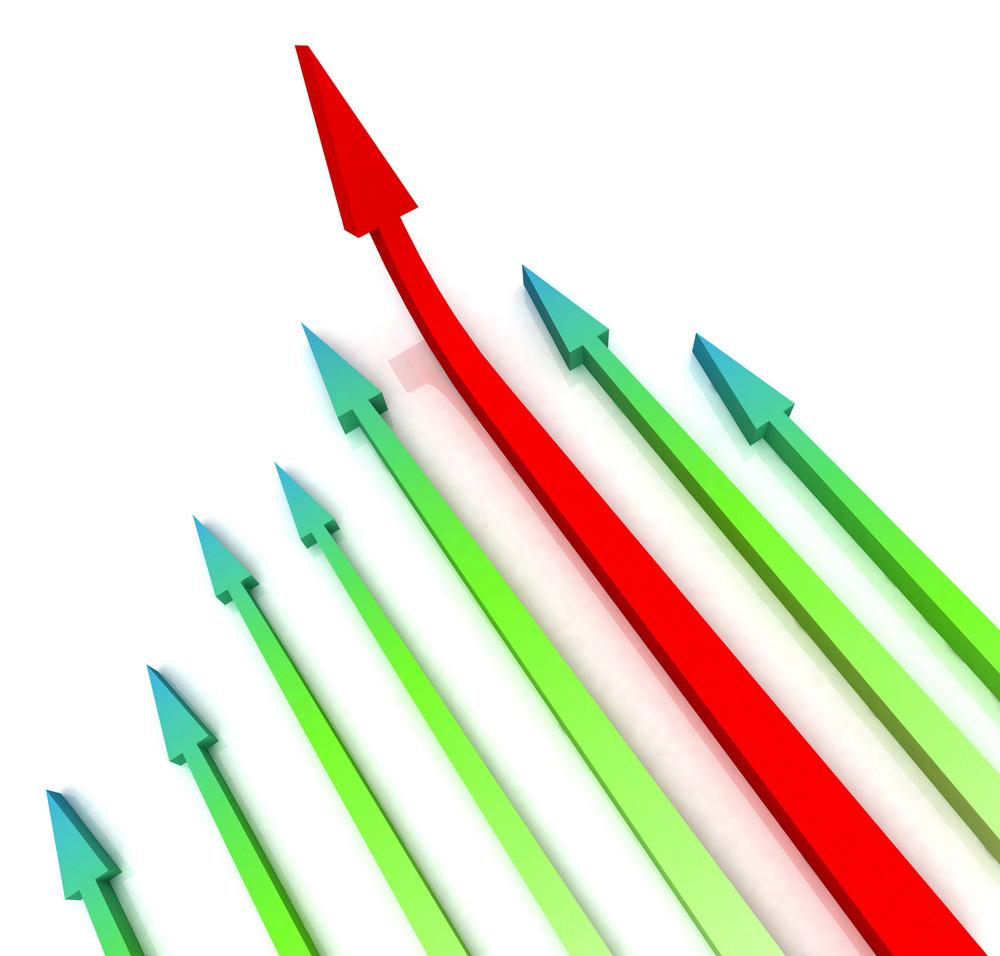 Red Left Arrow Ahead Shows Growth
