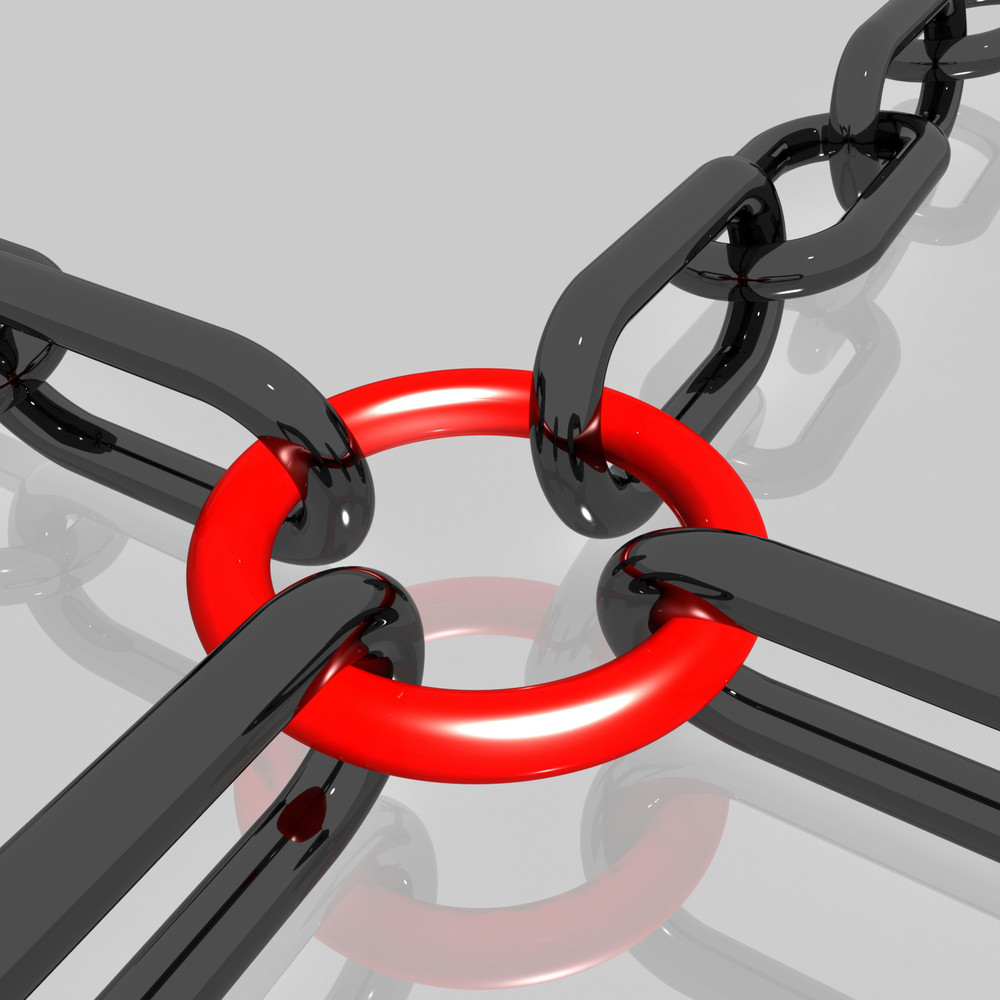 Red Link Chain Shows Teamwork, Connected