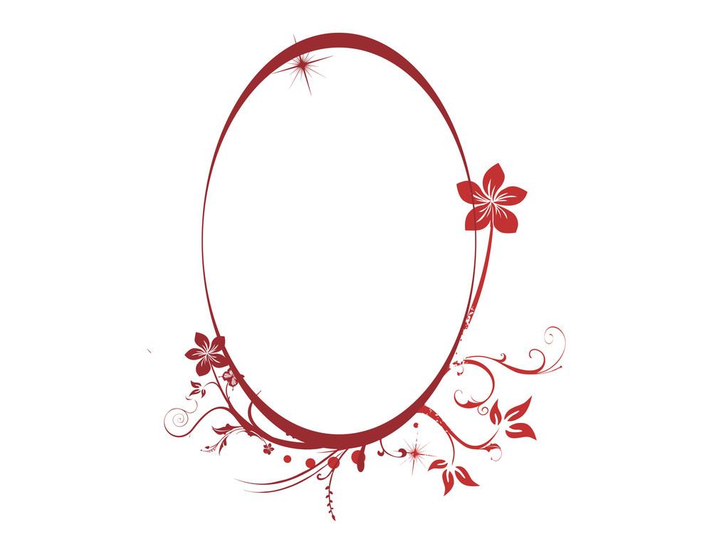Red Oval Floral Frame Backgound Wallpaper