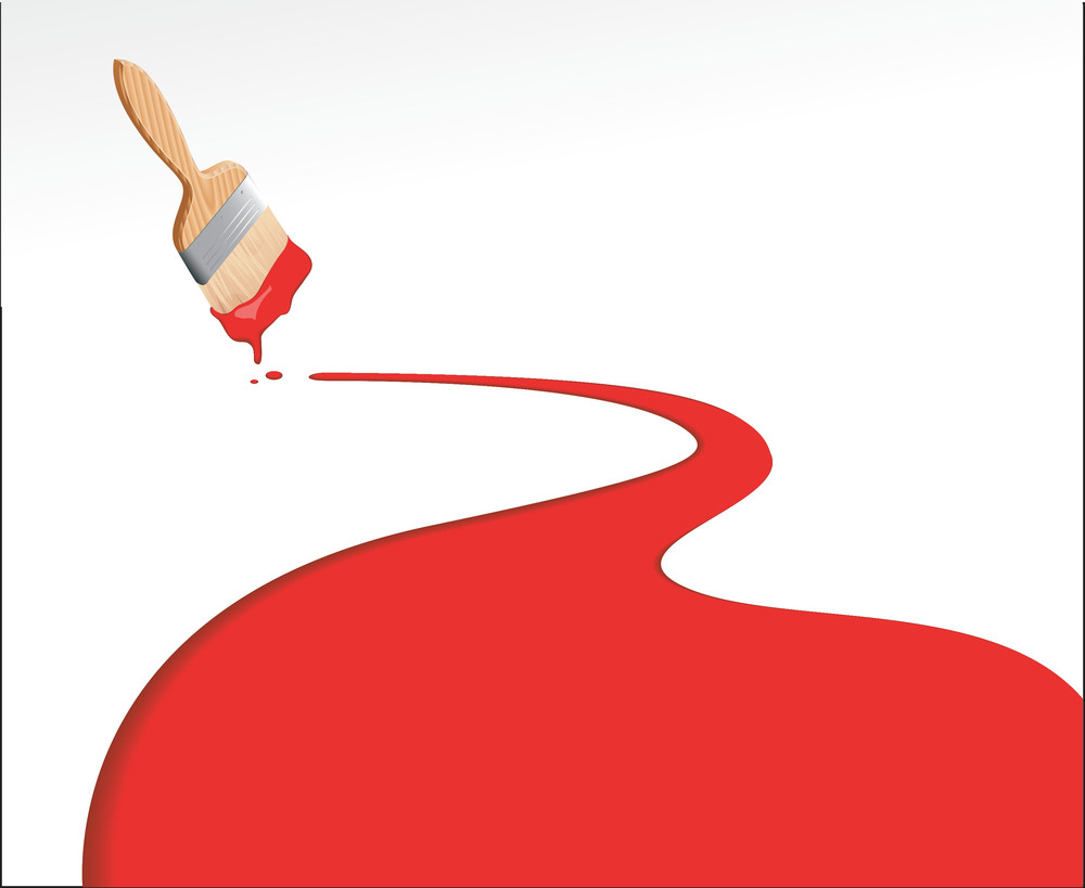 Red Paint Line. Vector Template.