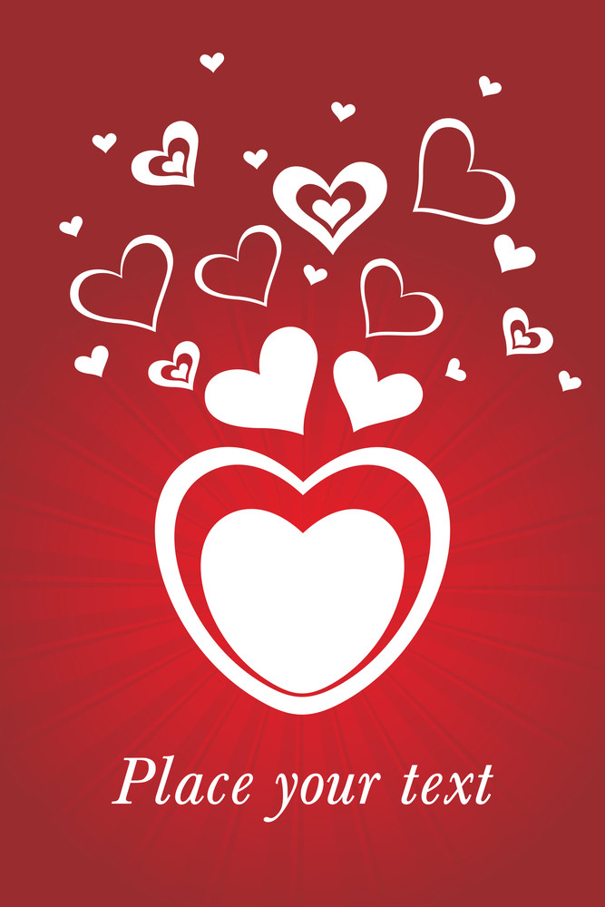 Red Rays Background With Romantic Heart