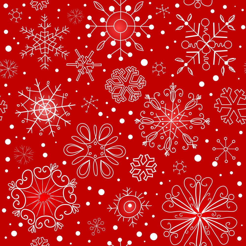 Red Seamless Ornament With Snowflakes-