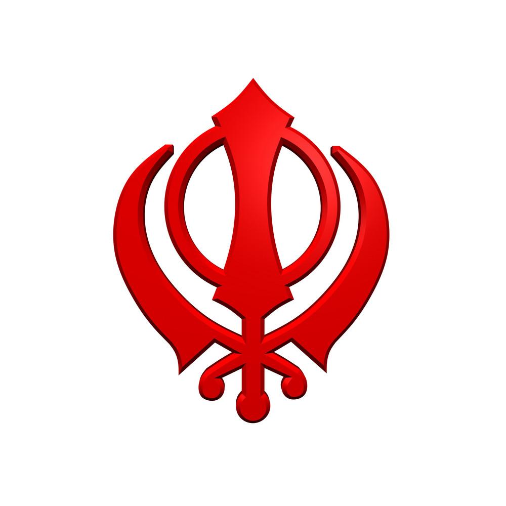 Red Sikhism Symbol.