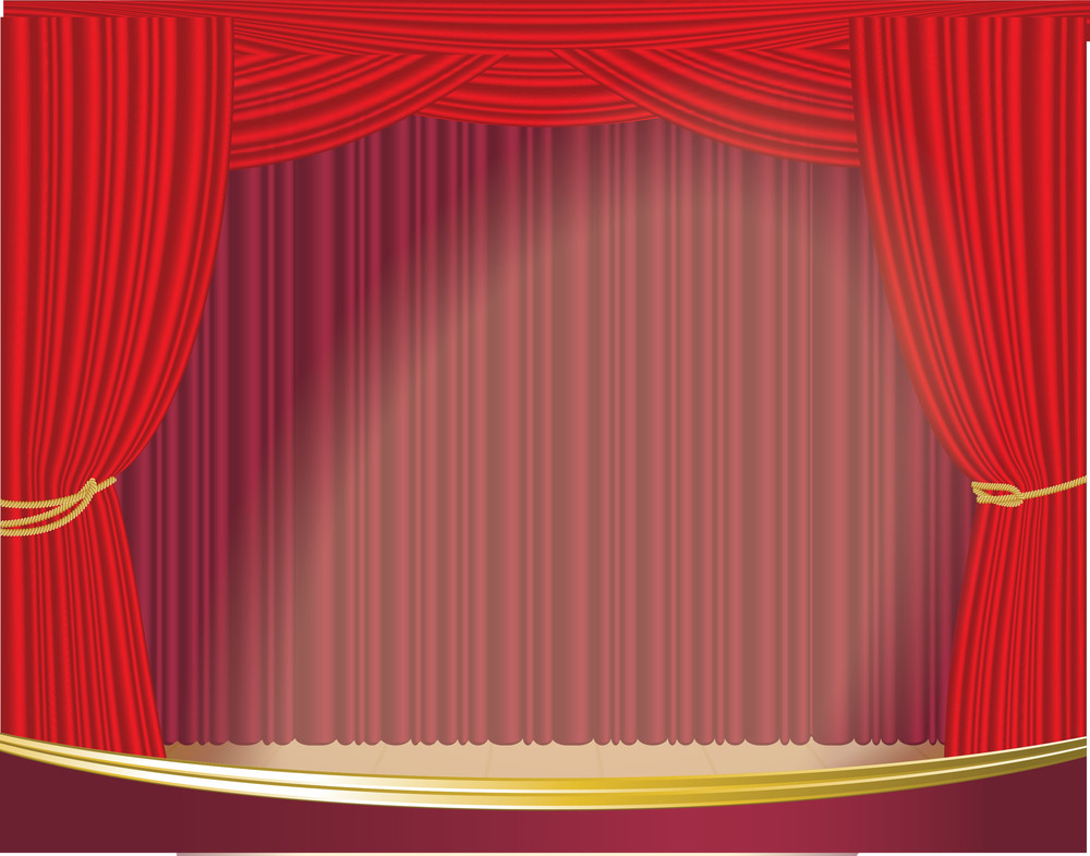 Red Stage Curtain Isolated On White. Vector.