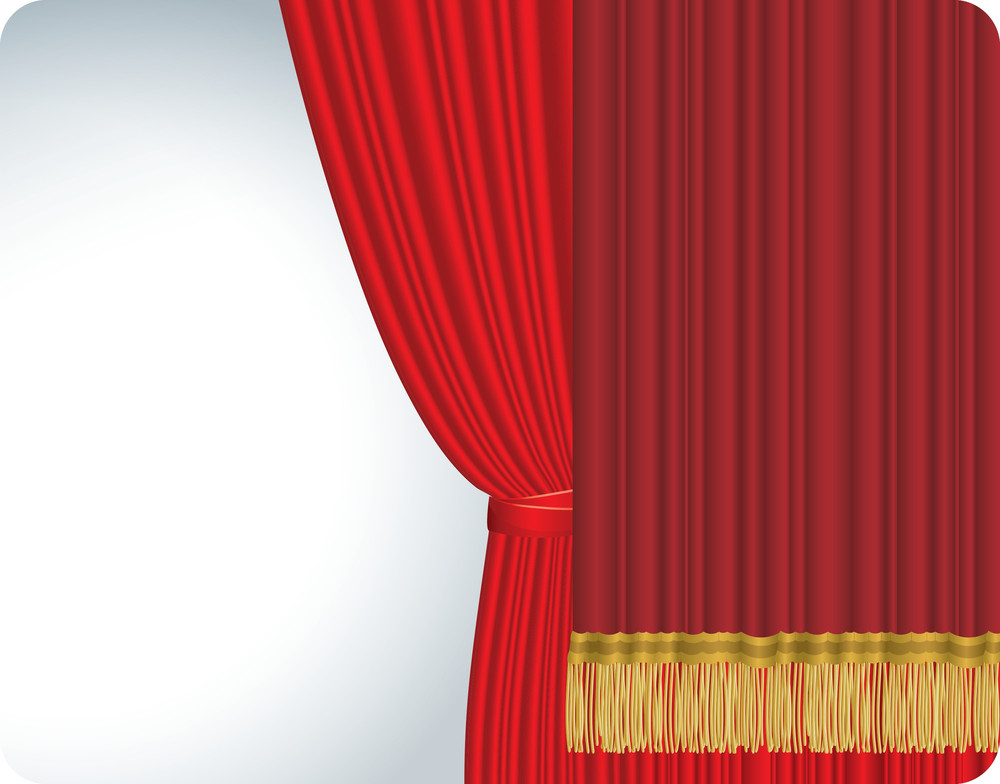 Red Stage Curtain Isolated On White. Vector. Royalty-Free Stock ...